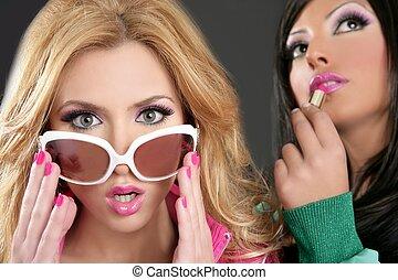 fashion barbie doll style girls pink lipstip makeup