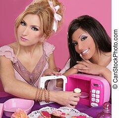 fashion barbie girls pink microwave sweets kitchen
