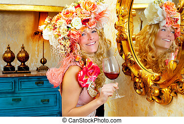fashion baroque blond woman drinking red wine