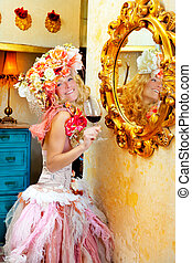 fashion baroque blond woman drinking red wine in grunge...