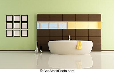 fashion bathtub in a minimal bathroom - rendering