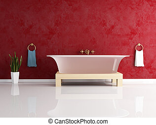 fashion bathtube against stucco wall - classic bathroom with...