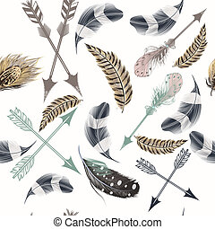 Fashion beautiful vector pattern with boho feathers
