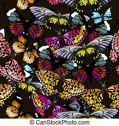 Fashion beautfiul vector pattern with colorful butterflies