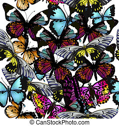 Fashion beautfiul vector pattern with colorful butterflies on white
