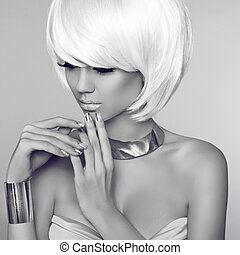 Fashion Beauty Blond Girl Portrait with White Short Hair. Face C