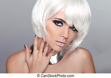 Fashion Beauty Blond Girl. Woman Portrait with White Short Hair. Hairstyle. Make up. Vogue Style.