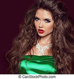 Fashion Beauty Girl. Gorgeous Woman Portrait. Elegant lady Woman with Jewelry over dark.