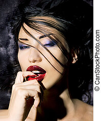 Fashion Beauty. Make-up. Beautiful Sexy Woman With Colorful Nail