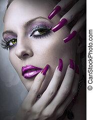 Fashion beauty make up. - Portrait of beautiful woman of...