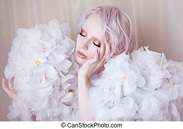 Fashion Beauty Model Girl in white Roses