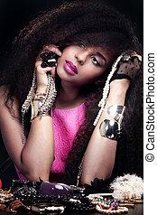 Fashion beauty portrait of young woman. - Fashion beauty...