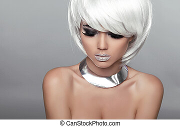 Fashion Beauty Portrait Woman. White Short Hair. Beautiful...