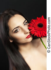 Fashion Beauty Woman Portrait. Beautiful Girl Face With Perfect Smooth Soft Skin And Professional Makeup. Closeup Of A Fashionable Female Model With Red Lipstick On Lips And Smoky Eyes.