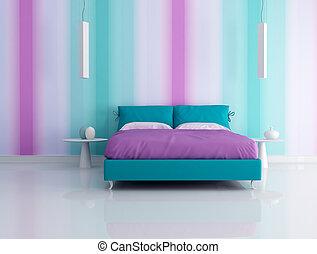 modern bedroom with multicolor wallpaper - rendering