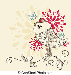 Fashion bird - Vector hand drawn bird