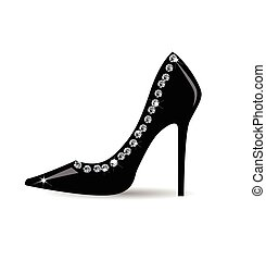 Fashion  black shoe with strass on white