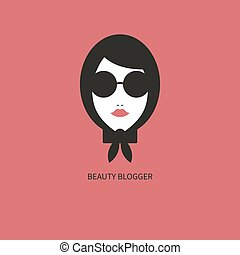 Fashion blogger icon. Young girl in sunglasses