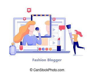 Fashion blogger on the computer screen. Video blog