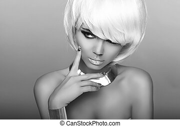 Fashion Blond Girl. Beauty Portrait Woman. White Short Hair. Isolated on Grey Background. Face Close-up. Black and white photo. Hairstyle. Fringe. Vogue Style.