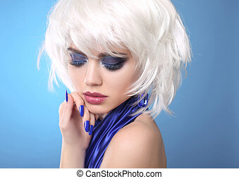 Fashion Blond Girl. White Short Hair. Beauty makeup Portrait Woman. Blue manicured nails. Face Close up. Hairstyle. Fringe. Vogue Style.
