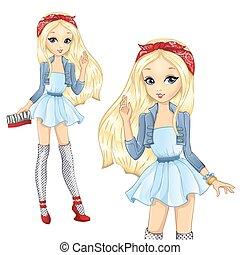 Fashion Blonde Girl With Red Bandana