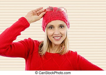 fashion blonde woman with red  sweater
