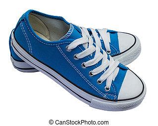 Blue shoes isolated on white background