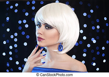 Fashion Bob Blond Girl. Beauty makeup Portrait Woman. White Short Hair. Gems jewelry earrings. Face Close up. Hairstyle. Fringe. Vogue Style.