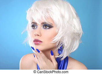 Fashion Bob Blond Girl. White Short Hair. Beauty makeup Portrait Woman.  Blue manicured nails. Face Close up. Hairstyle. Fringe. Vogue Style.