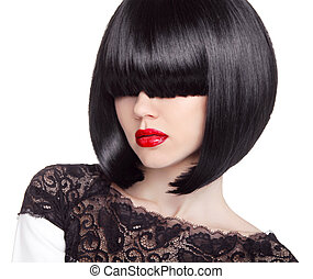 Fashion bob Haircut. Hairstyle. Long Fringe. Short Hair Style. B