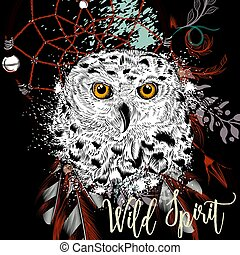Fashion boho Illustration with dreamcatcher and owl. Wild ...