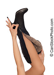 fashion boots - black leather high heel stiletto fetish...