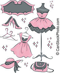Illustration Featuring Different Items Commonly Found in Fashion Boutiques