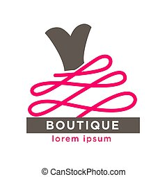 Fashion boutique with designers clothes logotype isolated illustration