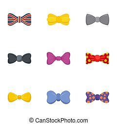 Fashion bow tie icon set, flat style