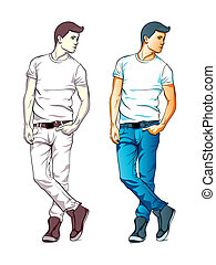 Fashion boy - Cool fashion young man in jeans and T-shirt...