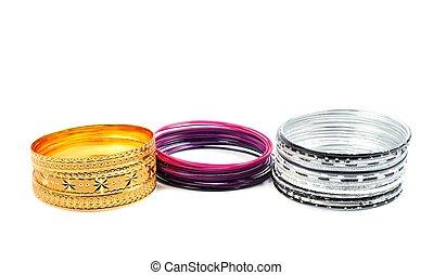 Fashion bracelets on white