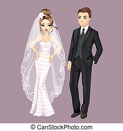 Vector illustration of beautiful fashion bride and groom