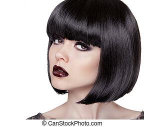 Fashion Brunette Girl. Black Healthy Hair. Bob Hairstyle. Makeup