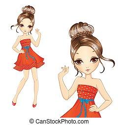 Fashion Brunette Girl In Retro Red Dress