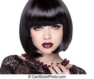 Fashion Brunette Girl model with Black bob hairstyle. Lady vamp.