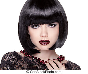 Fashion Brunette Girl model with Black bob hairstyle. Lady...