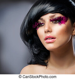 Fashion Brunette Model Portrait. Hairstyle
