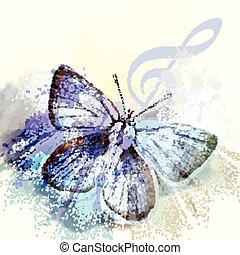 Fashion butterfly background with t