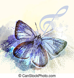 Fashion butterfly background with treble clef and butterfly...