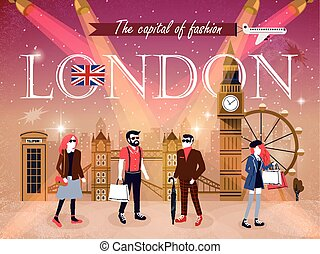 London fashion capital advertising poster with models and attractions