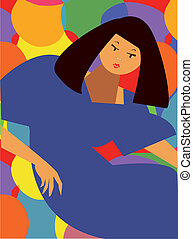 Fashion card - abstract girl in dress