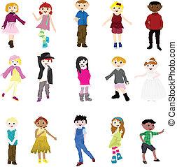 cartoon children - fashion cartoon children of girls and ...