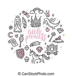 Fashion cartoon magic objects. Cute fairy tale princess, castle, dragon, unicorn and other elements. Doodle Vector Illustration. Good for a sticker, indie game, greeting card, badges or coloring page
